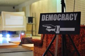 democracy this way sign